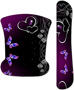 for Office Work Computer Laptop and PC Gaming Easy Typing /& Relief Wrist Pain Anti-Fatigue Purple Butterfly Memory Foam Keyboard Wrist Rest Support Pad Cushion