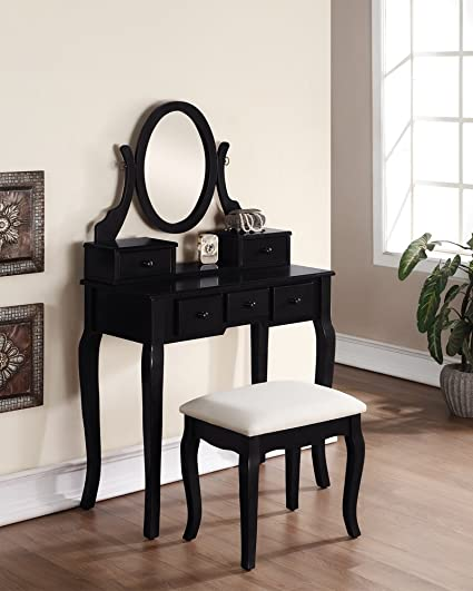 3 Piece Wood Make Up Mirror Vanity Dresser Table And Stool Set, Black