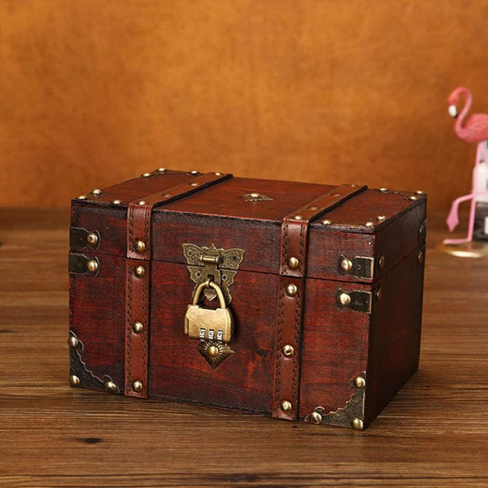 Haptern European Retro Wooden Storage Box Jewelry Box Make-up Container Box Medium Density Fiberboard Gift Box with Alloy Lock Treasure Chest Trunk Decorative Box Photography Props S /& L