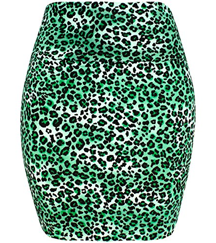 KMystic Basic Mini Skirt with Wide Waist Band (Large, Leopard Green) (Stretch Skirt Leopard)