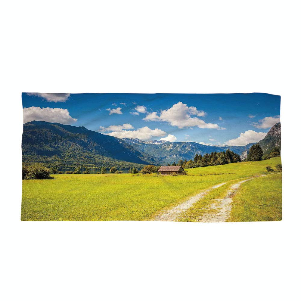 iPrint Cotton Microfiber Beach Towel,Nature,Julian Alps Mountain Valle Rural with Wooden Country House Paradise Picture,Lime Green Sky Blue,for Kids, Teens, and Adults
