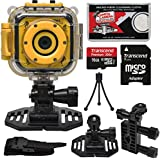 Precision Design K1 Kids HD Action Camera Camcorder (Yellow/Black) with Helmet & Handlebar Bike Mounts + 16GB Card + Mini Tripod + Kit