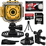 Precision Design K1 Kids HD Action Camera Camcorder (Yellow/Black) with Helmet & Handlebar Bike Mounts + 16GB Card + Mini Tripod + Kit