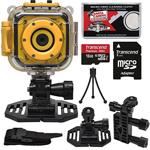 Precision Design K1 Kids HD Action Camera Camcorder (Yellow/Black) with Helmet & Handlebar Bike Mounts + 16GB Card + Mini Tripod + Kit by Precision Design