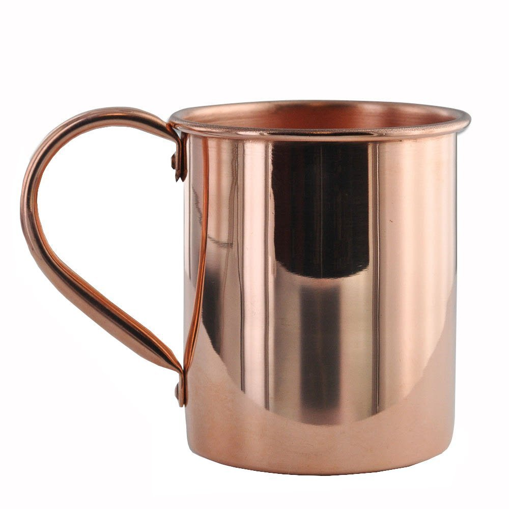 Solid Copper Mugs Moscow Mule Mug with No Inner Linings, Pure Copper, Riveted Handles, 16 oz (12)