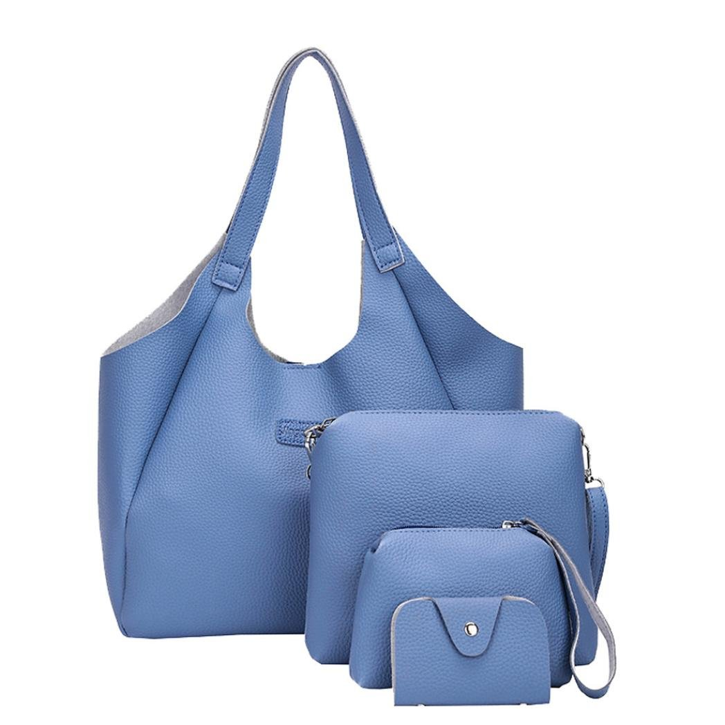 Gotd Handbag Set 4 Pieces Tote Fashion Leather Luxury Tote Handbag Girls Casual Shoulder Bags Messenger Clutch Wallet Travel Crossbody (Blue)