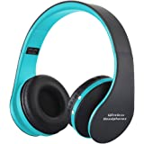 ZSW Tech Wireless Foldable Headphones, Bluetooth Wireless/Wired Over-ear Headset Rechargeable Earphones with Built-in Mic 3.5mm Audio Jack MIC for iPhone X 8/7/6 & Desktop, PC by (Blue)