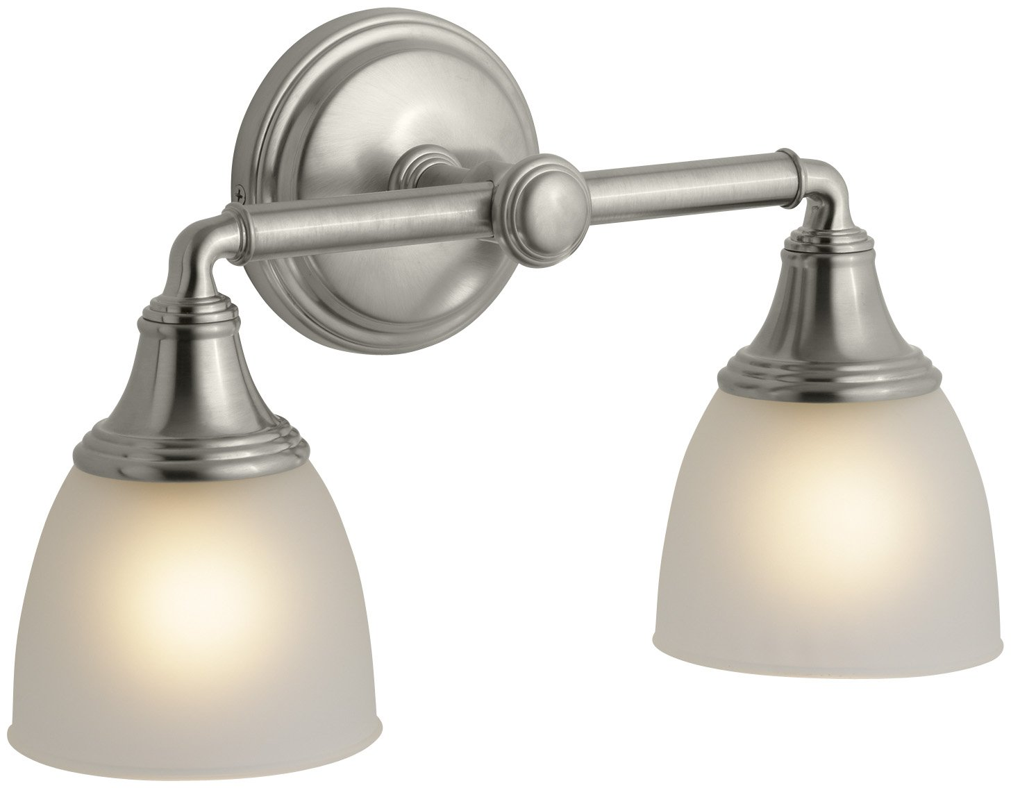 KOHLER KBN Devonshire Double Wall Sconce Vibrant Brushed - Polished nickel bathroom wall sconces