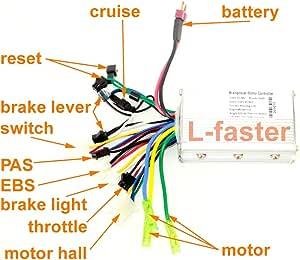 Amazon.com : L-faster 24V36V48V 250W350W Brushless Motor ...