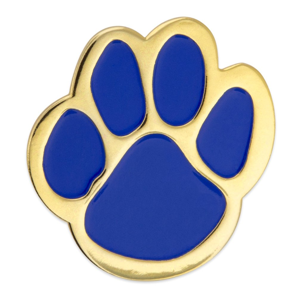 PinMart's Blue and Gold Animal Paw Print School Mascot Enamel Lapel Pin