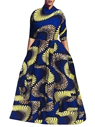 Amazon Com Sibylla Women S Plus Size African Print Long Maxi Dress