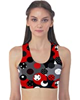 Red Pattern Retro Red Circles Polka Dot Women's Sport Bra