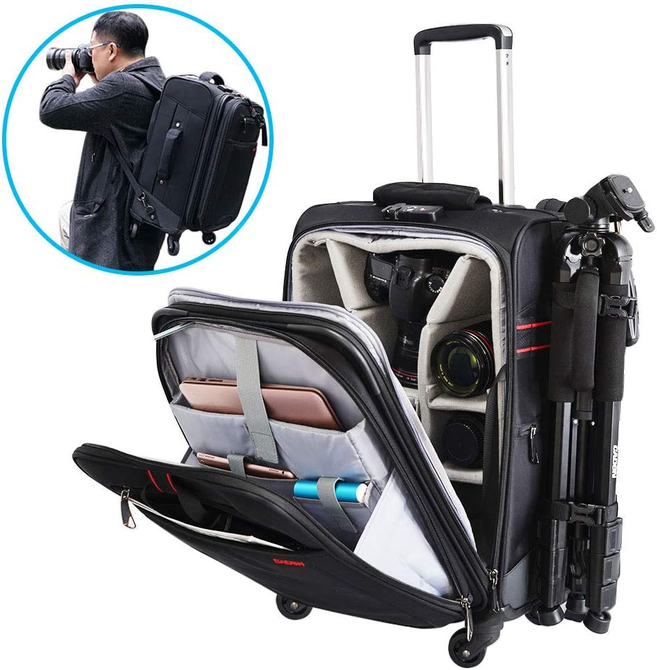 CADeN Camera Backpack Trolley Case with Mute Alloy Axis Spinner Wheel, Waterproof Large Capacity Rolling Camera Bag for DSLR Camera, Lens, Flash, Tripod, 17 Inch Laptop, Drone and Accessories