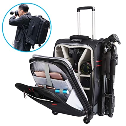 CADeN Camera Backpack Trolley Case with Mute Alloy Axis Spinner Wheel,  Waterproof Large Capacity Rolling bb6bbf29a6