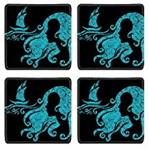 Liili Square Coasters Vector grunge illustration of woman looking at the sea Photo 5733152