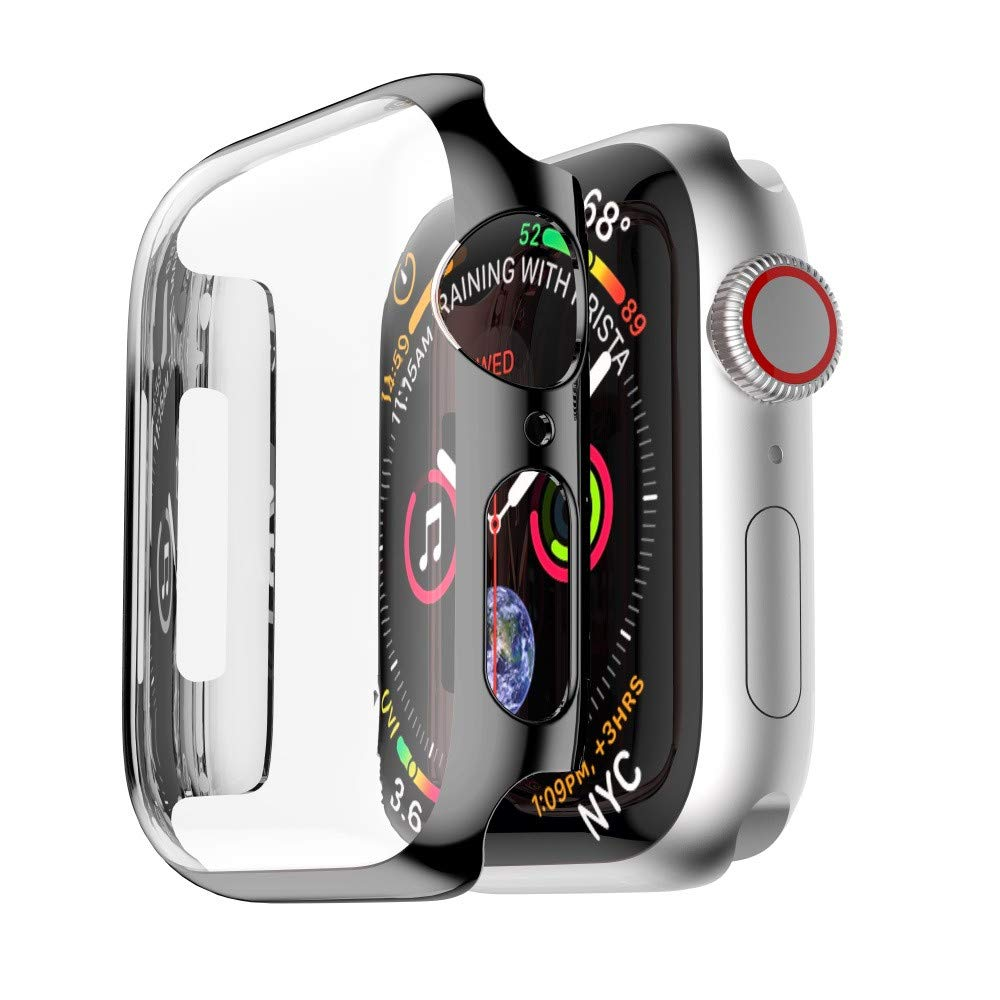 Amaping Ultra-Slim Plating Protective Cases for iWatch 4 All-around Bumper Cover Screen Protector Compatible with New Apple Watch Series 4 (for 44mm, Black)
