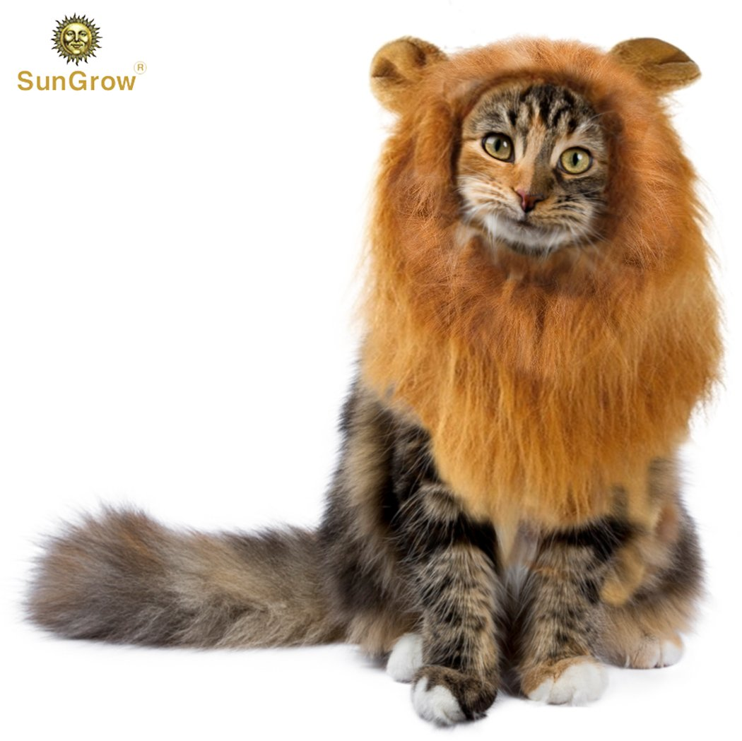 SunGrow Lion Mane Costume with Ears for Big Dogs & Cats: Get your pet dressed up in the cute adorable mane ever! Perfect for Halloween & Costume Parties