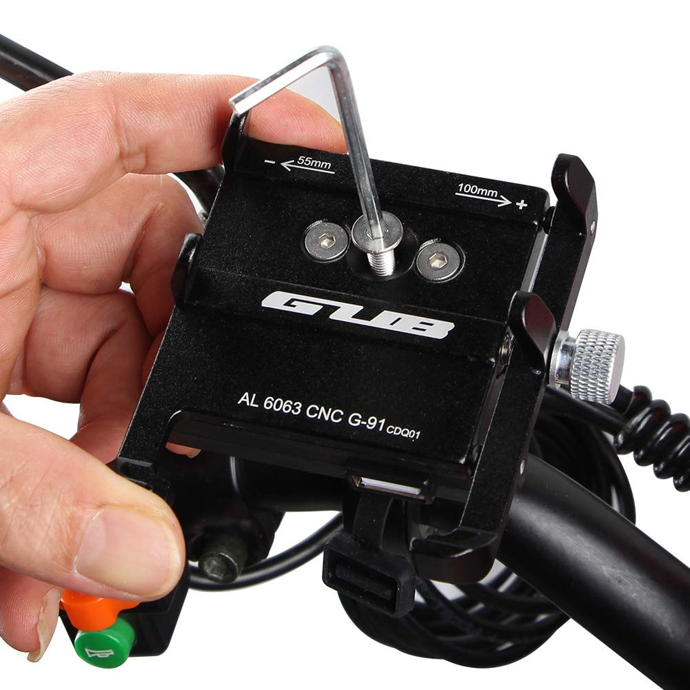 Motorcycle Phone Mount with USB Charger Socket Power Outlet 5V//2.5A Install on Handlebar//Mirror Bar,Aluminum Motorcycle Handlebar Mount Compatible with iPhone Samsung Phones G-91