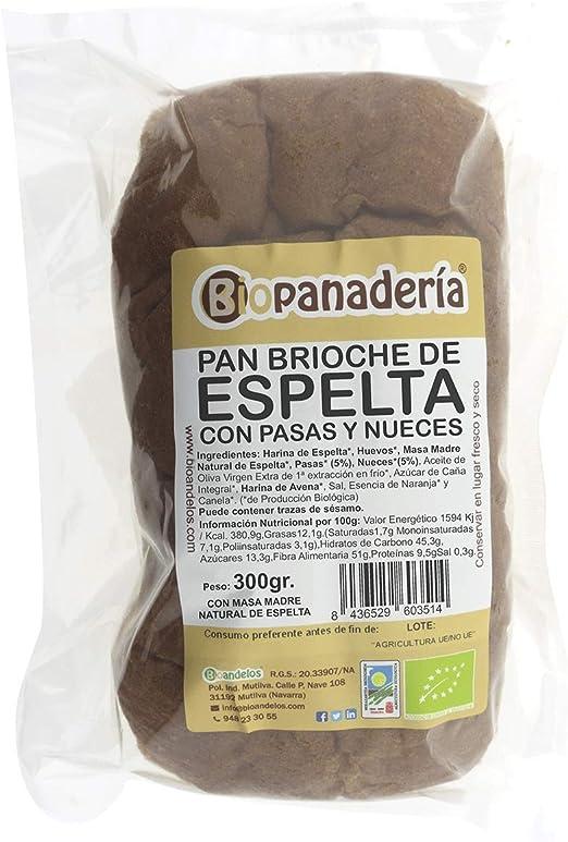 Biopanadería Pan Brioche de Espelta Integral con Pasas y Nueces Ecológico Artesano: Amazon.es: Alimentación y bebidas