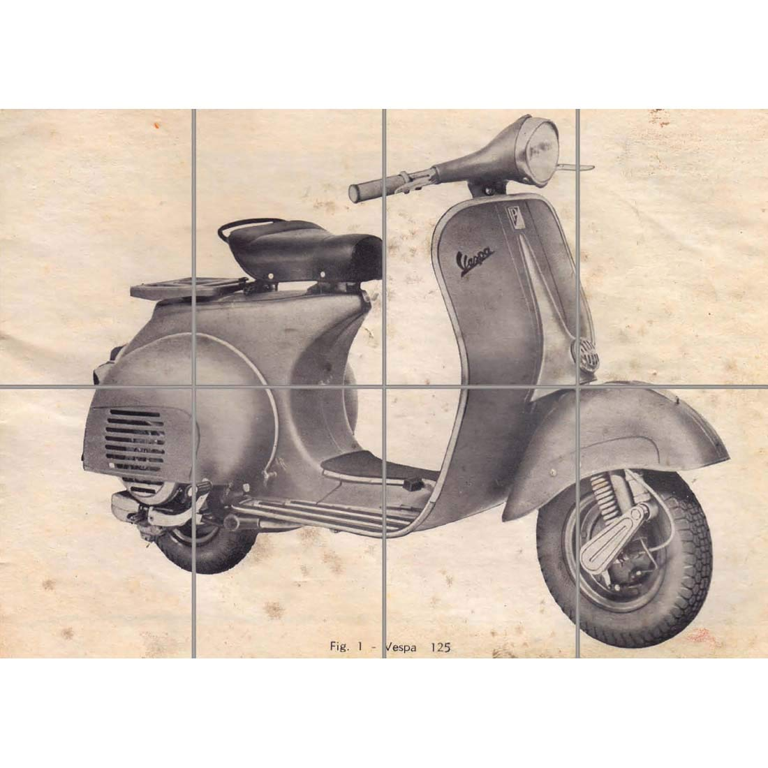 VINTAGE VESPA SCOOTER DRAWING GIANT WALL ART PRINT PICTURE ...