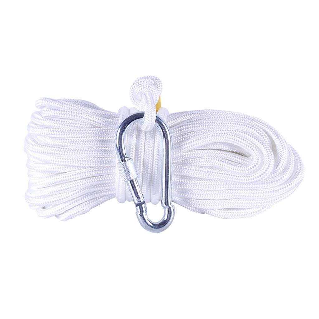LIZIPYS Cordes Corde de Prougeection de sécurité, Ligne de Vie de ménage Blanche à Crochet Unique Φ8MM - Convient aux escaliers de Secours Aides à l'escalade Secours