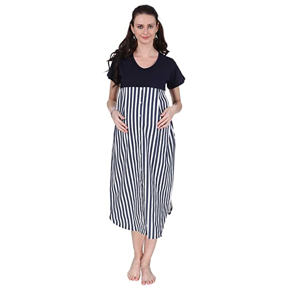 d970bad2f7a VIXENWRAP Navy Blue   White Striped Maternity Dress (M Navy Blue ...