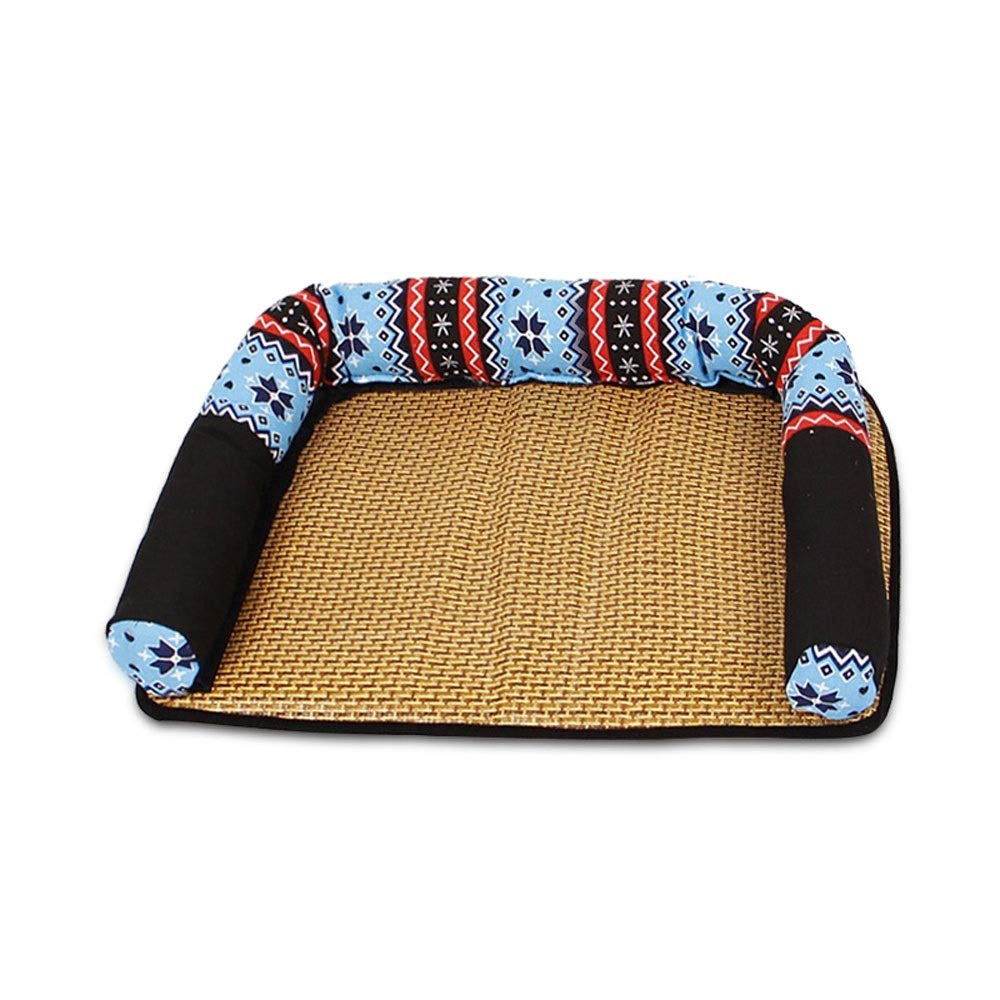 bluee S bluee S Alapet Summer Washable Mat Kennel, Removable and Washable Pet Sofa Sleeping Mat, PP Cotton Padding, Soft and Comfortable,Delicate Rattan, Safe Skin-Friendly, Breathable and Refreshing