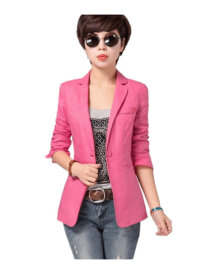 d43ed2b53e902a Pattern:blazer. Decoration:solid color,pockets. Style:Fashion. Sleeve:3/4  sleeve. Collor:lapel. Closure:one button. Season:  spring,summer,autumn,winter.