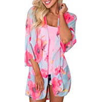 Tootu Women Chiffon Loose Shawl Print Kimono Cardigan Top Cover up Blouse Beachwear