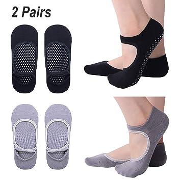 Hibbent 2 Pares Calcetines de Yoga Pilates Antideslizantes Mujer Utilizar  para Barre b525574215e7
