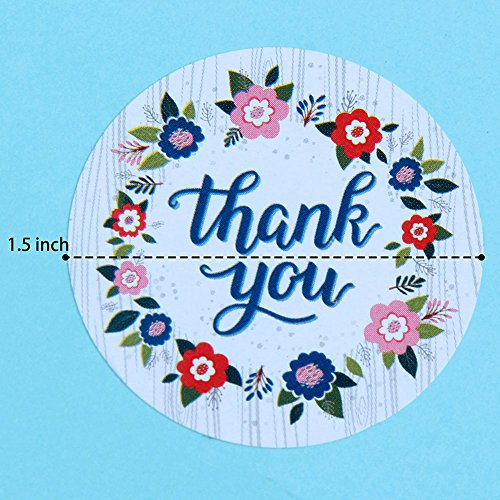 Magic Human 1000 Pack of Thank You Stickers Vintage Adorable Flowers  Adhesive Roll Round Labels Tag Badges