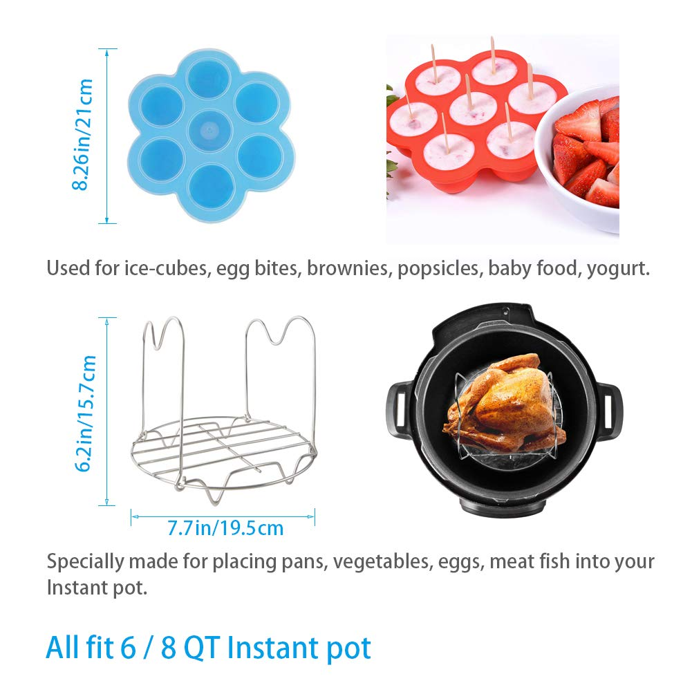 Instant Pot Accessories 2 pcs//set for 6qt /& 8qt Pressure Cooker PRAMOO Silicone Egg Bites Molds and Steamer Rack with Handles