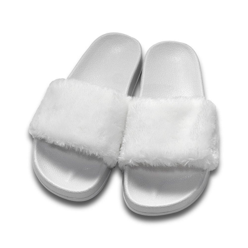 COFACE Damen Hausschuh Weiche Flache Sandalen Flauschige mit Suuml;szlig;er Pluuml;sch Pantoffel Outdoor/Indoor in 5 Farben  38 EU|Wei?e