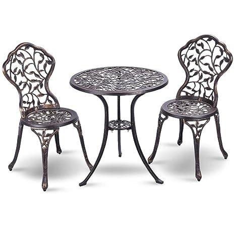 Costway Ensemble Bistrot Pour Jardin 3 Pièces En Aluminium Salon De Jardin 2 Chaises Et 1 Table Parfait Pour Balcon Terasse Et Jardin