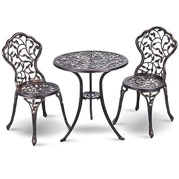 COSTWAY Ensemble Bistrot pour Jardin 3 Pièces en Aluminium Salon de Jardin  2 Chaises et 1 Table Parfait pour Balcon, Terasse et Jardin