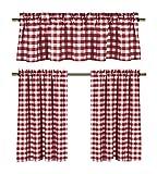 Kitchen Window Treatments Red lovemyfabric Gingham Checkered Plaid Design 3-Piece Kitchen Curtain Valance Window Treatment Set (Red)