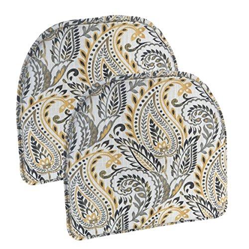 Klear Vu Algura Paisley Designer Non Slip Fabric Chair Cushion Pad, 15 x 16 , Set of 2 Chairpads Graystone