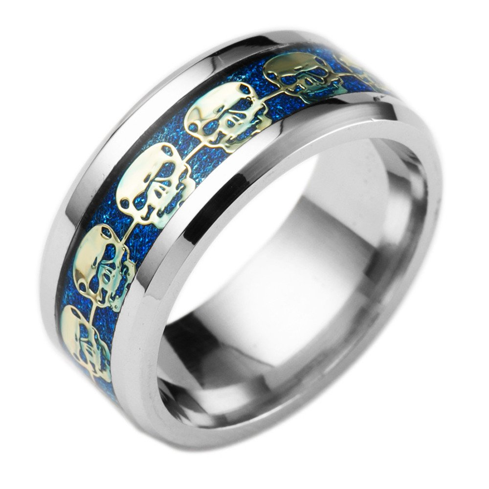 Qvwanle Fashion Stainless Steel Punk Style Skull Ring Hip Hop Style Ring (Blue, 9)