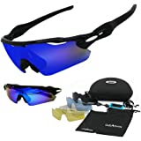 GIEADUN Polarized Sports Sunglasses UV400 Protection Cycling Glasses With 5 Interchangeable Lenses for Cycling, Baseball