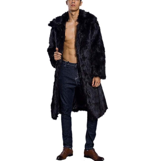 Escudo de Cuello Cuadrado Abierto Abrigo de Peluche Largo Manga Larga de Invierno sólido Espesar Chaqueta de los Hombres: Amazon.es: Ropa y accesorios