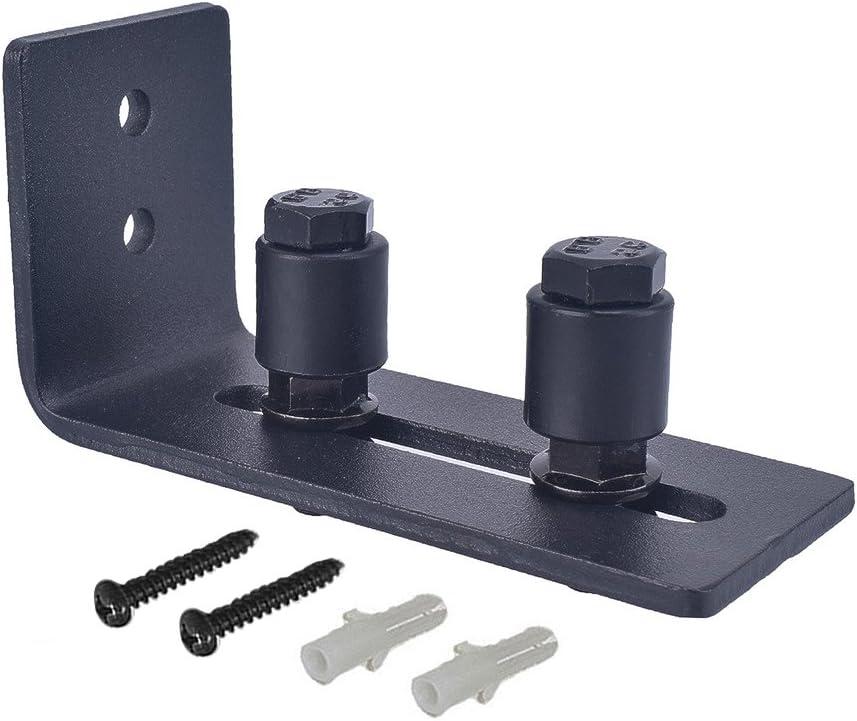 Kit de montaje en pared para puerta de granero con guía de piso ajustable para puertas correderas tornillos de guía de pared, guías de soporte inferior se coloca plano en el suelo: