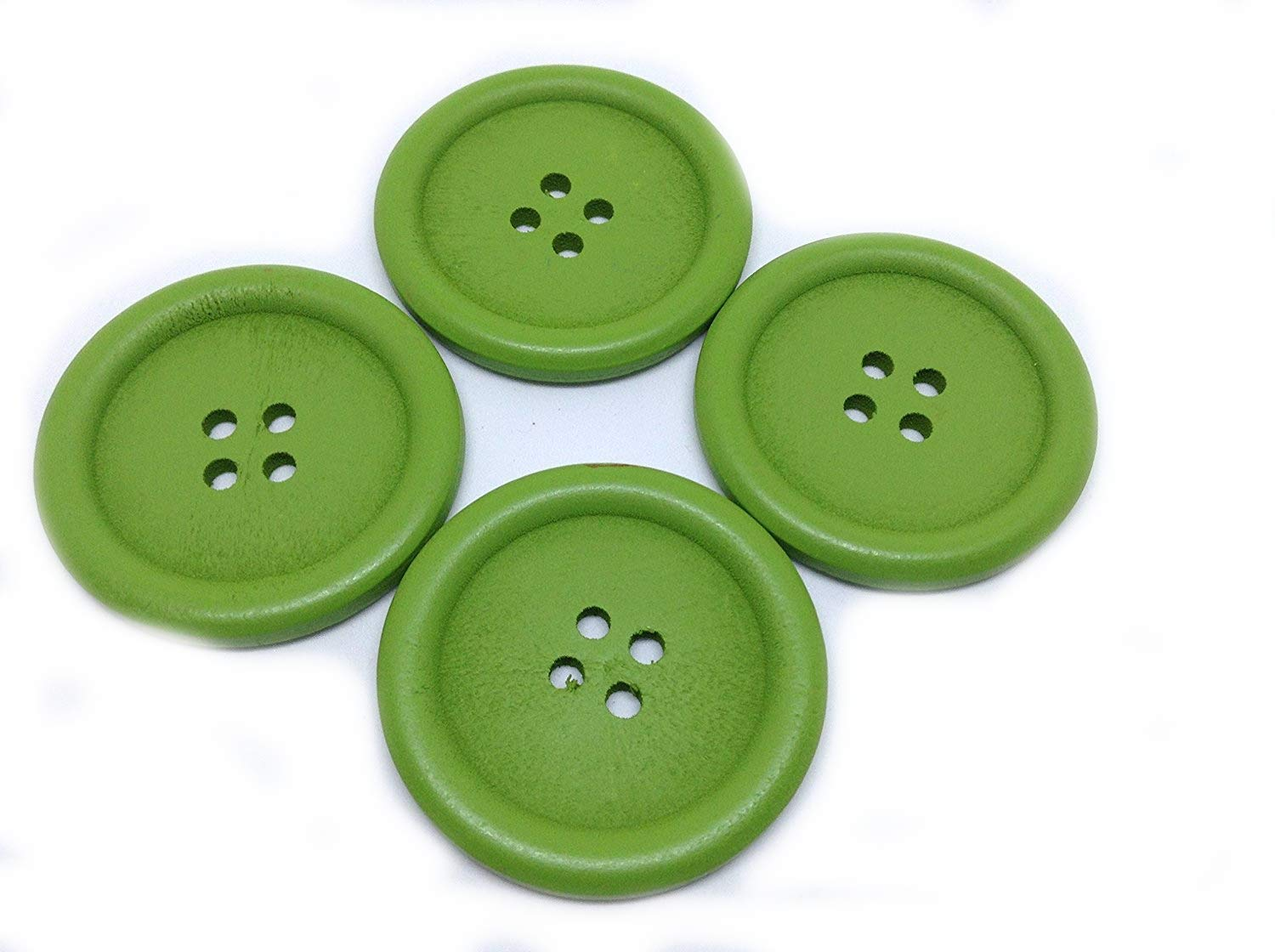 Sewing Knitting 5 Wooden LARGE Green Rimmed Buttons 40mm Handbags Crafts