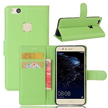 Funda para Huawei P10 Lite Carcasa con Soporte Plegable, Ranuras para Tarjetas y Billetes, Broche Magnético, Cubierta de Material de Cuero - Color ...