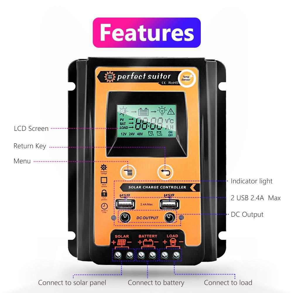 30//50//70 A MPPT Solarladeregler Dual USB LCD Display 12 V 24 V Auto Solarzellen Panel Laderegler mit Last