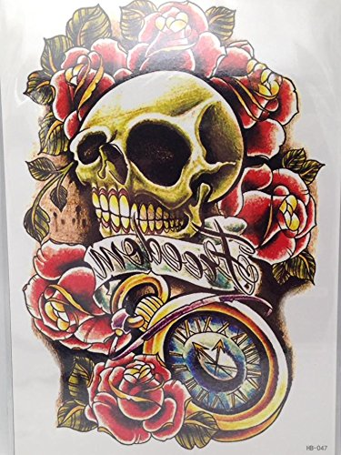 Large Temporary Tattoos ROSES SKUL FREEDOM Sticker Body Art Make up for Men Women Fake Tattoo Paper Waterproof 13.5 X 20.5CM