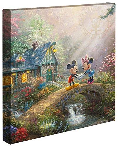 Thomas Kinkade Studios Disney's Mickey and Minnie Sweetheart Bridge 14 x 14 Gallery Wrapped -