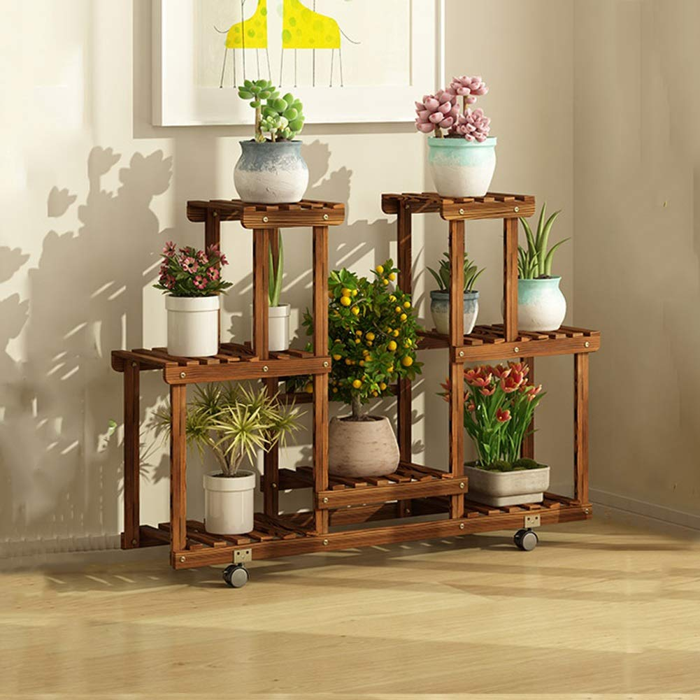 A 1052571cm Flower racks - Wooden Flower Stand Floor Type Multi-Layer Indoor and Outdoor Rack Mobile Pot Shelf with Roller (color   A, Size   105  25  71cm)