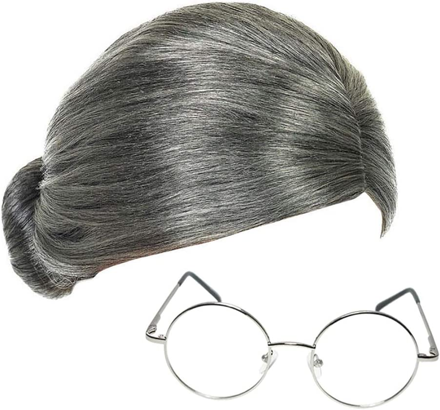 LADIES GREY BUN WIG WORLD BOOK DAY FANCY DRESS BOOK CHARACTER ADULT COSTUME