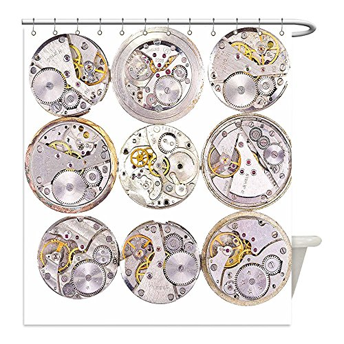 A Clockwork Orange Costume Diy (Liguo88 Custom Waterproof Bathroom Shower Curtain Polyester Clock Decor Repair of Watches Design Technical Theme Clockwork Retro Theme Horizontal Silver and Gold Decorative bathroom)