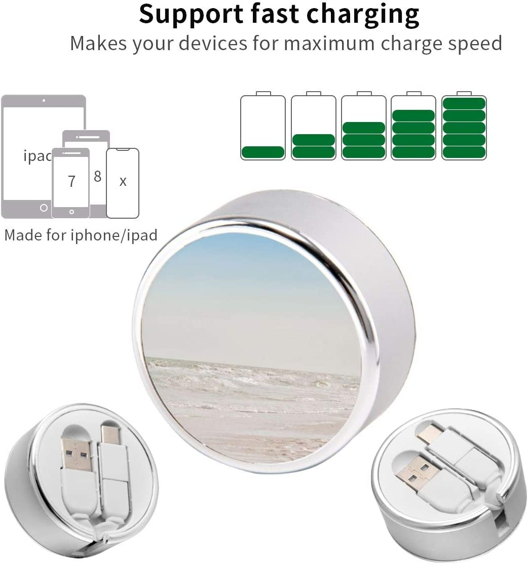 Charging Cable Can Be Charged and Data Transmission Synchronous Fast Charging Cable-Girl Standing On Seashore During Daytime Round USB Data Cable